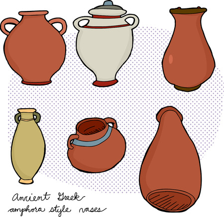 Set of various amphora vases from ancient Greek history Vector