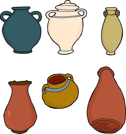 Old greek ceramic vases and jars over white Vector