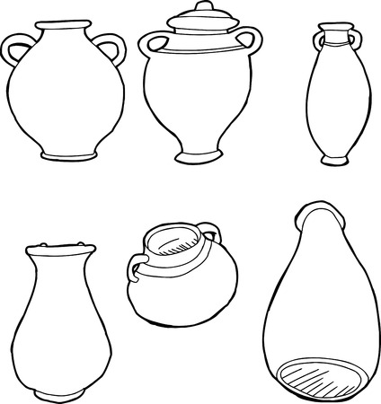 earthenware: Outlined drawings of ancient Greek amphora vases Illustration