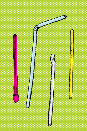 bendy straw: Various drinking and milk shake straws over green