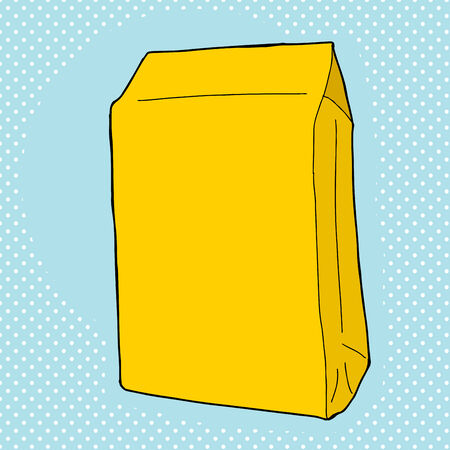 pouch: Yellow generic food package over blue background