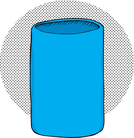 unprinted: Empty blue insulated can holder over halftone background
