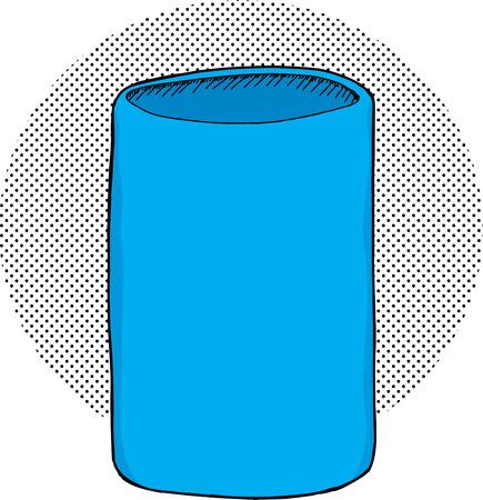 unprinted: Titular aislado azul vac�o lata sobre fondo de medios tonos