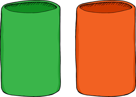 unprinted: Green and orange color insulated soda can holders