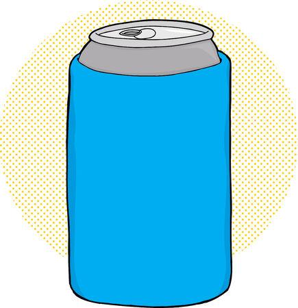 Cartoon of soda can inside blue foam cooler Vector