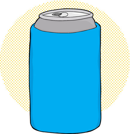 unprinted: Cartoon of soda can inside blue foam cooler