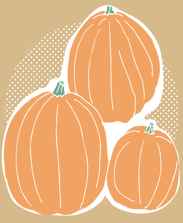 Abstract trio of pumpkins over brown background Illustration