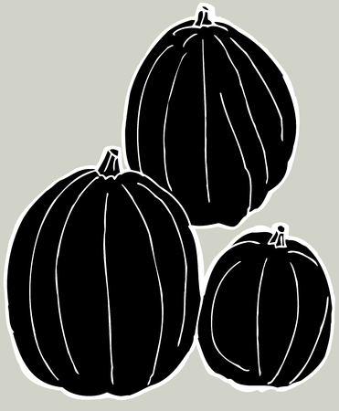 Set of three black pumpkins over gray background Illustration