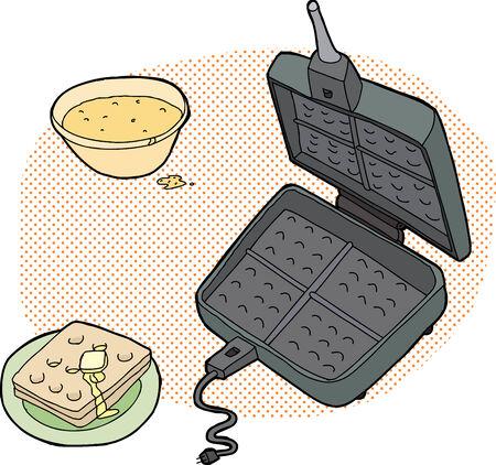 열린 철과 배터와 함께 요리 와플 일러스트 레이션