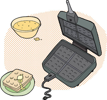 Cooking waffles illustration with open iron and batter