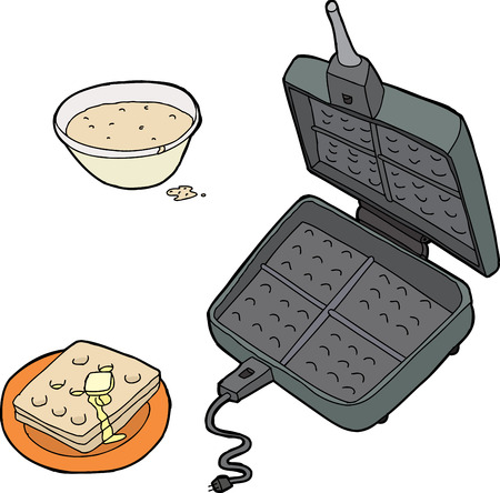 Open cast iron waffle maker with bowl of  Vector