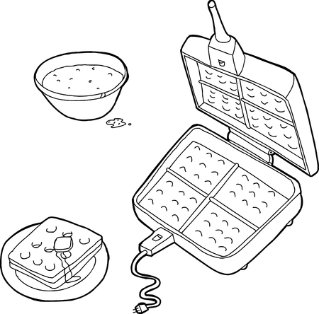 Outlined waffle iron with waffles and bowl of batter