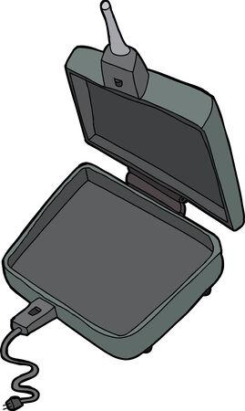Isolated cast iron cartoon electric pie cooker Ilustração