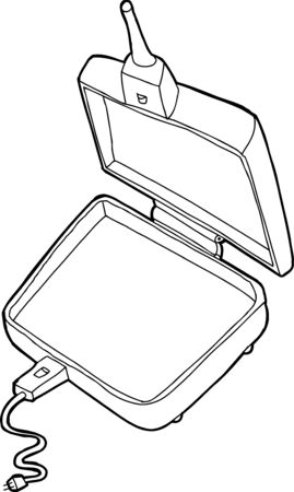 cast iron: Hand drawn single cartoon electric pie cooker Illustration