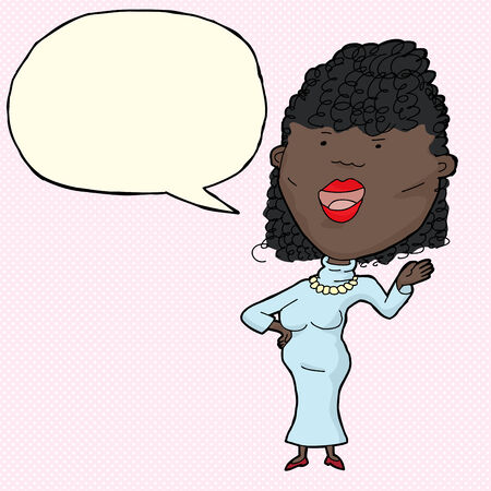 latina: Beautiful African woman in blue with word bubble Illustration