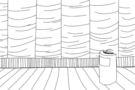 Outline cartoon of stage with curtain and lectern