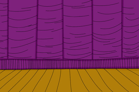 Purple stage curtain and wooden floor cartoon background