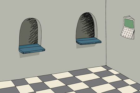 Background cartoon of room with two ticket windows