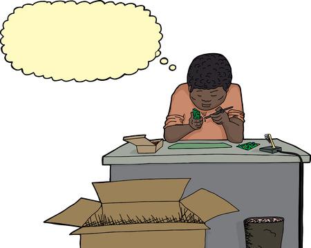 debugging: African man soldering circuit board at desk