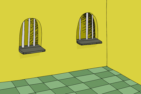 Post office windows with bars and checkered floor Vector