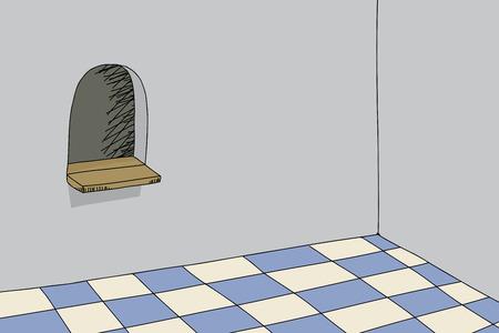 hand drawn cartoon: Dibujado a mano habitaci�n de dibujos animados con taquilla Vectores