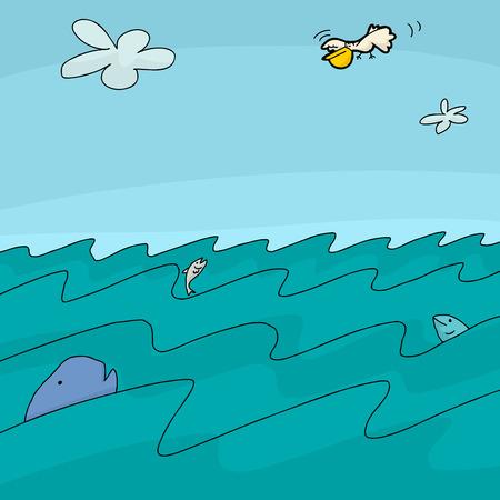Ocean cartoon background with pelican and fish Vector