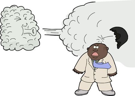 Anthropomorphic cloud blowing off toupee on businessman