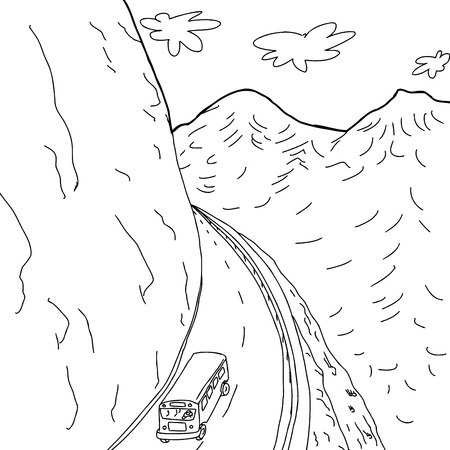 Outline cartoon drawing of school bus on mountain highway
