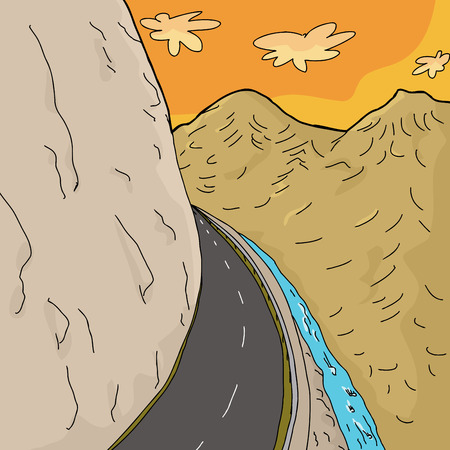 two lane highway: Cartoon background of highway curve in mountains