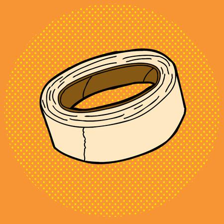 オレンジ色のハーフトーンのマスキング テープ漫画の寝返り  イラスト・ベクター素材