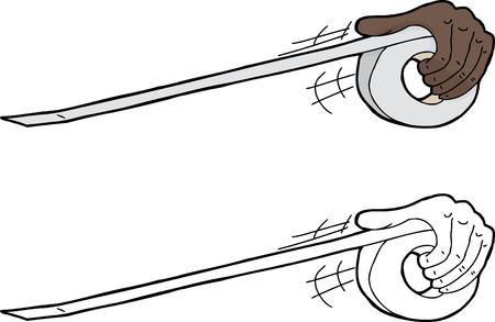 duct: Tirando de la mano rollo de cinta adhesiva sobre blanco