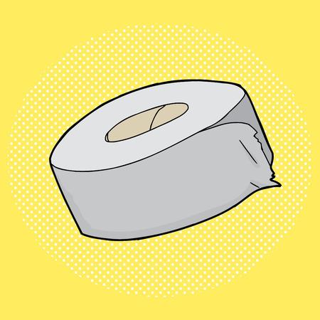 duct: Dibujado a mano de dibujos animados rollo de cinta adhesiva sobre amarillo Vectores