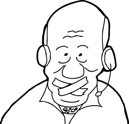 call outs: Balding man with headset and tape over mouth