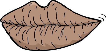 Single human lips cartoon over isolated white background Ilustrace