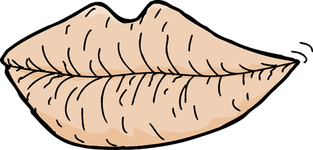 Cartoon of chapped lips on white background