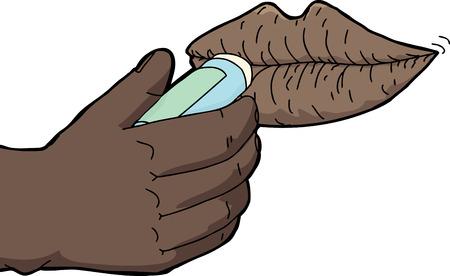 人間の手が乾いた唇にリップ クリームを適用します。