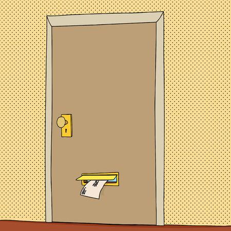 メール スロットからの手紙と閉じたドア