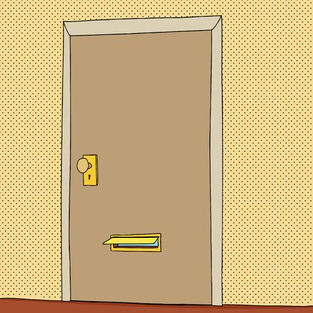 閉じたドアの開いているメール スロットの漫画  イラスト・ベクター素材