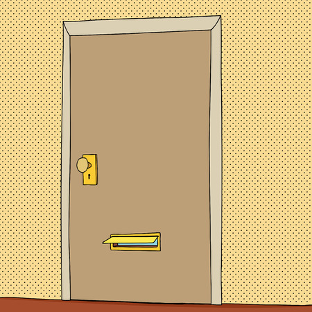 #33573263 - Cartoon of open mail slot in closed door  sc 1 st  123RF.com & Outline Drawing Of Door With Letter In Mail Slot Royalty Free ...