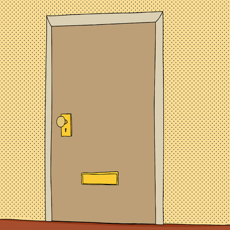 メール スロット漫画を持つ単一の閉じたドア