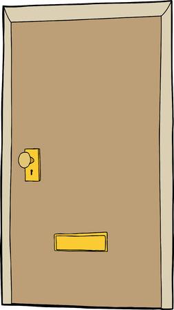 手描き漫画ドア閉じたメール スロットを