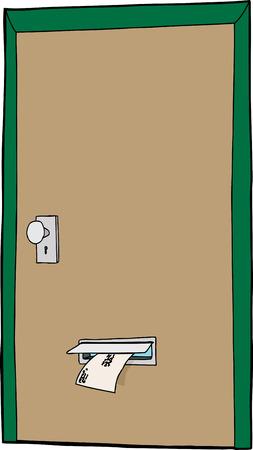 白い背景の上の漫画のドアでメール スロット  イラスト・ベクター素材