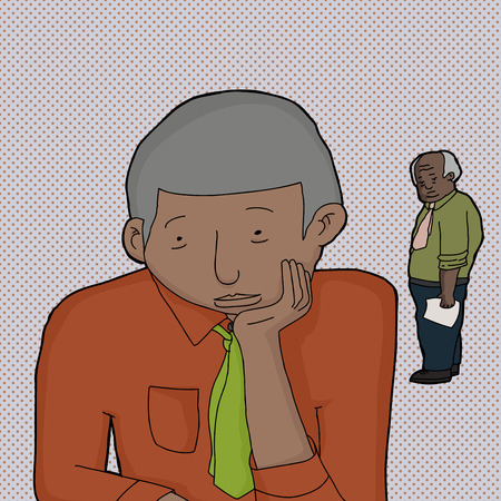 middle aged: Boss looking a depressed middle aged businessman Illustration