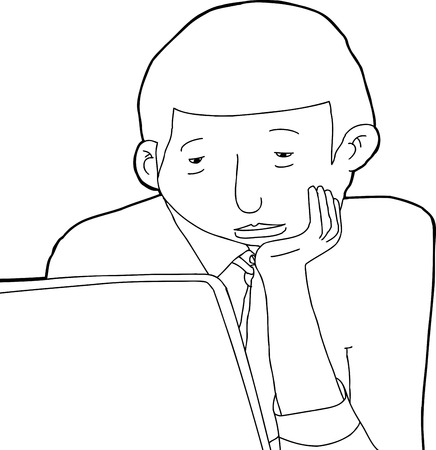man with laptop: Outline cartoon of bored young African man at laptop