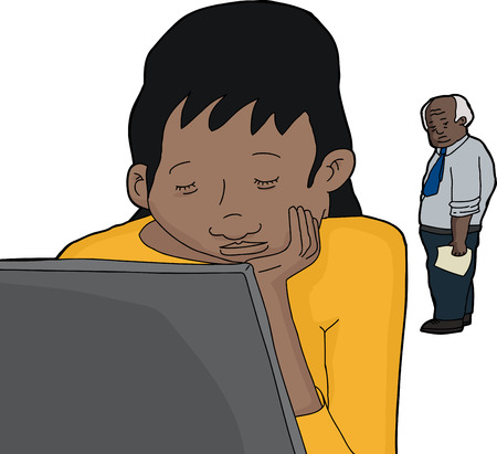 Mature man watching young student with laptop asleep