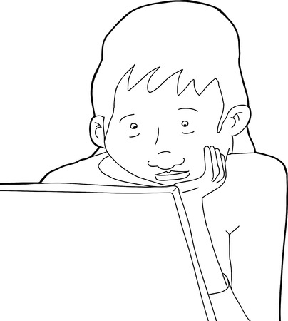 Outline cartoon of young woman with laptop and hand on chin Illustration
