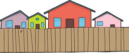 Cartoon huizen en een houten hek over wit