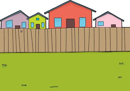 Hand drawn suburban backyard background with houses