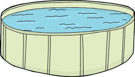 Single cartoon green swimming pool with water