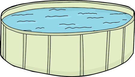 Single cartoon green swimming pool with water
